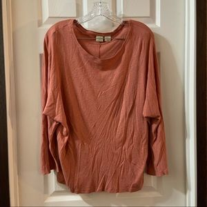 Lucy & Laurel Orange Knit Dolman Sleeve Top Large